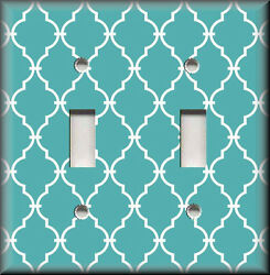 Metal Light Switch Plate Cover - Turquoise White Quatrefoil Moroccan Home Decor