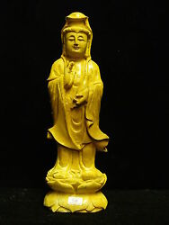 Yellow Jade Standing Kwanyin Yj09 - Rare And Unique - Only One