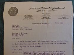 Orig 1917 Nyc New York City Tenement Letterhead 2 Page Letter Staten Island