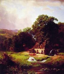 Oil Albert Bierstadt - The Old Mill By Village With Farmer's House In Landscape