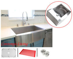 36 Stainless Steel Curve Apron Kitchen Farm Sink Combo