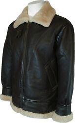 Mens Sheepskin Flying Aviator Airforce Leather Coat Brown With Cream Fur S5