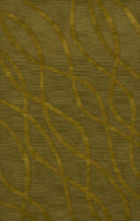 Green Transitional Hand Hooked Swirls Lines Stripes Area Rug Abstract Dv10