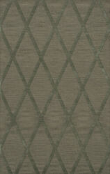 Green Transitional Hand Hooked Diamonds Criss-cross Area Rug Geometric Dv11