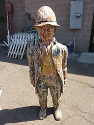 C1910-20 English Clothing Store Wooden Mannequin Prop Folk Art 60 Tall X 20w