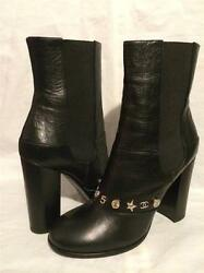 14b Black Leather Cc Camellia 5 Star Coin Charm Ankle Boots Heels 1695