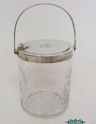And Co Sterling Silver Mounted Glass Jelly Jar Preserve Pot New York C1920