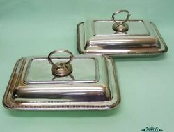 Pair Of Silver Plated Entree Dishes & Covers By Walker & Hall Sheffield 1921
