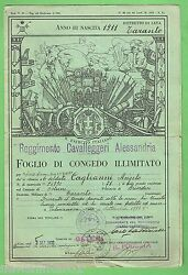 D155. Old Italian Army Discharge Paper Green Colour