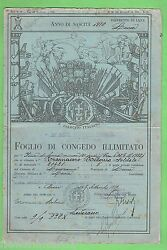 D155. Old Italian Army Discharge Paper Light Blue Colour