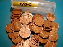 1933-d Lincoln Wheat Cent Penny Roll, 50 Coins, Tough Date To Find