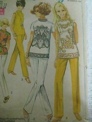 Vintage Simplicity 8000 Overblouse Stove Pipe Pants Sewing Pattern Women Sz 12