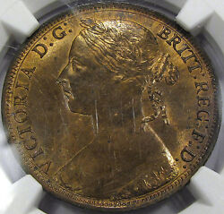 1884 Great Britain Penny Choice Ngc Ms-63 Rb... Super Flashy, Mostly Red Nice