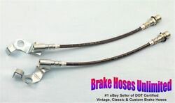 Stainless Front Brake Hoses Ford Custom 1967 Early, Before 10-15-1966, Disc