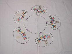 VINTAGE WHITE COTTON TABLECLOTH with HAND EMBROIDERED BASKETS OF FLOWERS 62x72