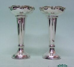 Pair Of Sterling Silver Posy Vases By James Dixon And Sons Sheffield England 1962