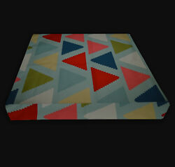 Ll402t Red Khaki Pink Teal Blue Grey Triangle Cotton 3d Box Seat Cushion Cover