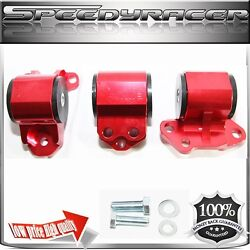 Engine Mount Kit Red For 92-95civic 94-01 Integra 93-97 Del Sol 3 Post Only