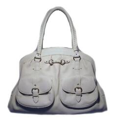 Christian Dior White Leather Shoulder Shopper Bag Limited Edition Authentic