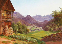 Stunning Oil Painting Spring Landscape With Farmer's House In Village Canvas 36