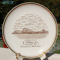 Rare Old West Antique Roundup Montana Plate Wall Co Gen Mdse W/pic Of Old Town