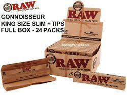 Full Box/ 24pks Raw Classic Connoisseur King Size Cigarette Rolling Paper And Tips