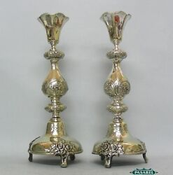 Norblin And Co Silver Plated Brass Shabbat Candlesticks Poland Ca 1880