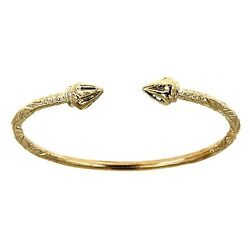 10k Yellow Gold West Indian Bangle W. Arrow Ends 32 Grams Made In Usa
