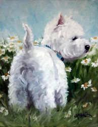 Mary Sparrow Westie West highland terrier dog daisies PRINT canvas rolled