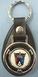 Vintage White Ford 50's Crest Mini Steering Wheel Leather Key Ring Key Fob