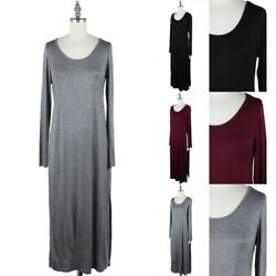Solid Long Sleeve Scoop Neck Tunic Top with Slit Sides Casual Cute Rayon S M L