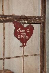 Open Closed Metal Hanging Chicken Sign Vintage Farmhouse Style