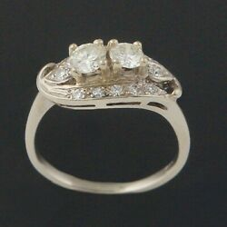 Rare 1950s Retro Solid 14k White Gold And .80 Cttw Diamond Wedding Engagement Ring