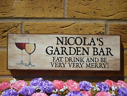 Personalised Outdoor Sign Garden Bar Drinks Area Sign Wine Beer You Choose Text
