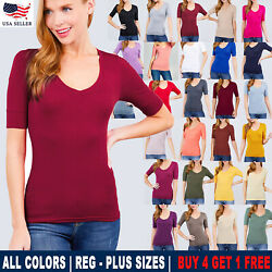 Women's V-Neck Elbow 34 Sleeve Basic T-Shirt Top Stetchy Tee SML1XL2XL3XL