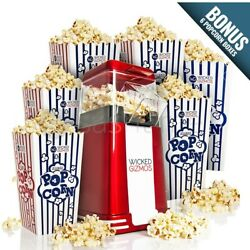 Retro Popcorn Maker Machine Hot Air Popper With 6 Boxes Healthy Snack Electric