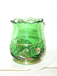 Riverside Eapg Victorian Esther Emerald Green Toothpick Holder W/ Bright Gold