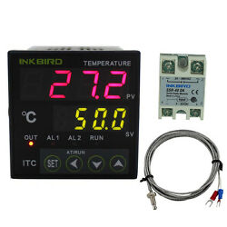 110V Digital PID Temperature Controller Thermostat + K Thermocouple + 40A SSR CE