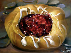 Cherry Danish - Large Canvas 40 X30 In. Original Oil On Canvas Hall Groat Ii
