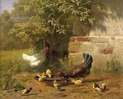 Perfect Oil Painting Carl Jutz - Meal Time Poultry fowldomestic Birdcanvas