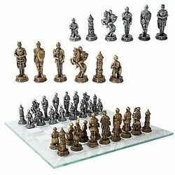 Medieval Warfare Age Of Knights And Kings Resin Chess Pieces With Glass Board Set