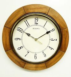 BULOVA WALL CLOCK quot;SANDHILLquot; C4254 12quot; ROUND WALL CLOCK WITH WEATHERED FINISH