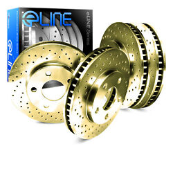 For 2000 Subaru Legacy Front Rear eLine Gold Drilled Brake Rotors