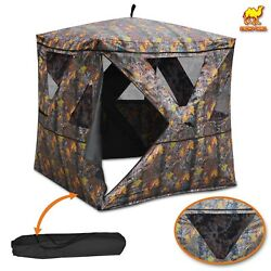 2-3 Person Camouflage Hunting Blind Ground Tent Deer Archery Outhouse Shooting