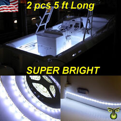2x 5and039 60 White Led Boat Deck Light Waterproof Bow Trailer Fishing Pontoon 12v