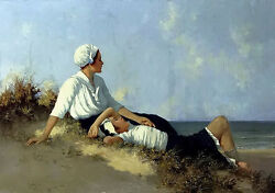 Oil Painting Hermann Seeger - Girls On The Beach Beautiful Landscape With Figure