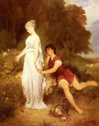Oil Painting Robert Beyschlag - Adieu Romantic Young Lovers In Landscape Canvas