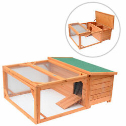 Pawhut Deluxe Wooden House Chicken Coop Rabbit Hutch Backyard Poultry Hen wRamp