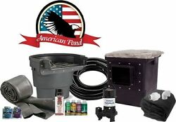 American Pond Medium Pro Series Complete Pond Kit W/ Waterfall - 11and039 X 16and039