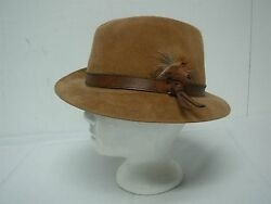 Vtg Stetson The Sovereign Tan Wool Felt Mens Fedora Hat Leather And Feather 7 3/8